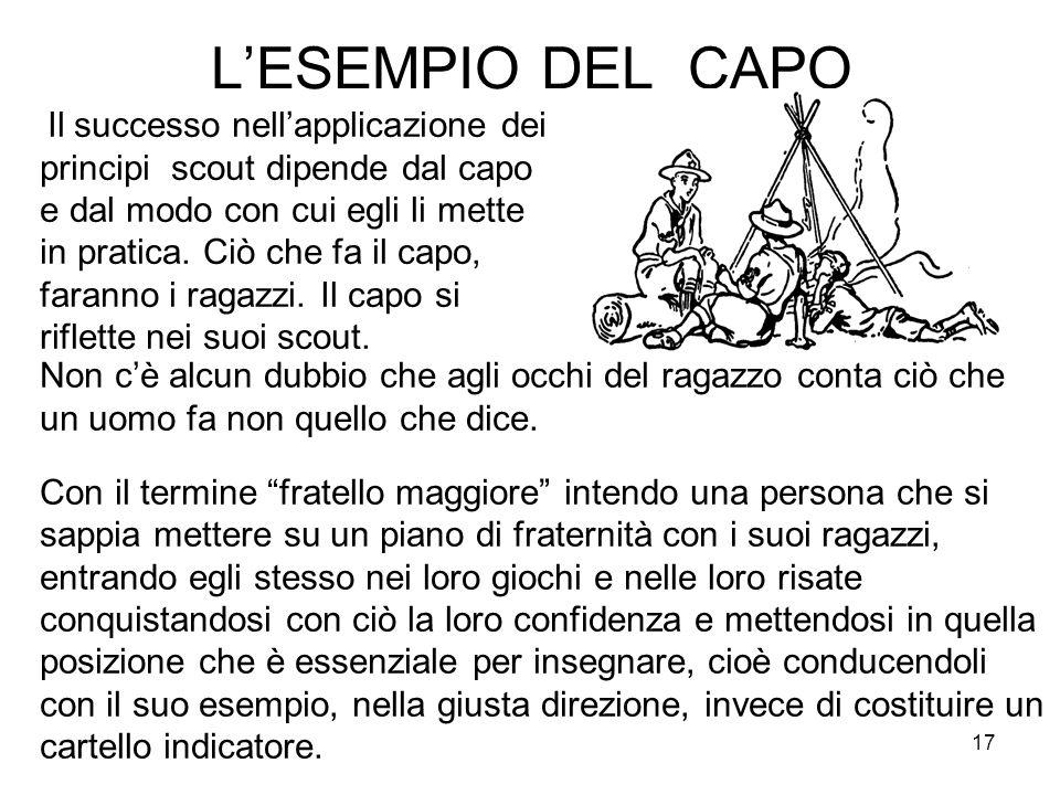 17 L'ESEMPIO DEL CAPO Il successo nell'applicazione dei principi scout dipende dal capo e dal modo con cui egli li mette in pratica. Ciò che fa il cap