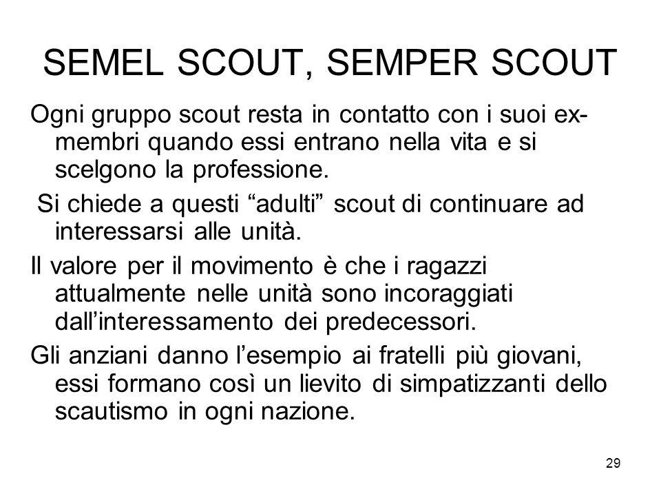 29 SEMEL SCOUT, SEMPER SCOUT Ogni gruppo scout resta in contatto con i suoi ex- membri quando essi entrano nella vita e si scelgono la professione. Si