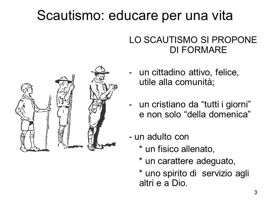 """3 Scautismo: educare per una vita LO SCAUTISMO SI PROPONE DI FORMARE -un cittadino attivo, felice, utile alla comunità; -un cristiano da """"tutti i gior"""