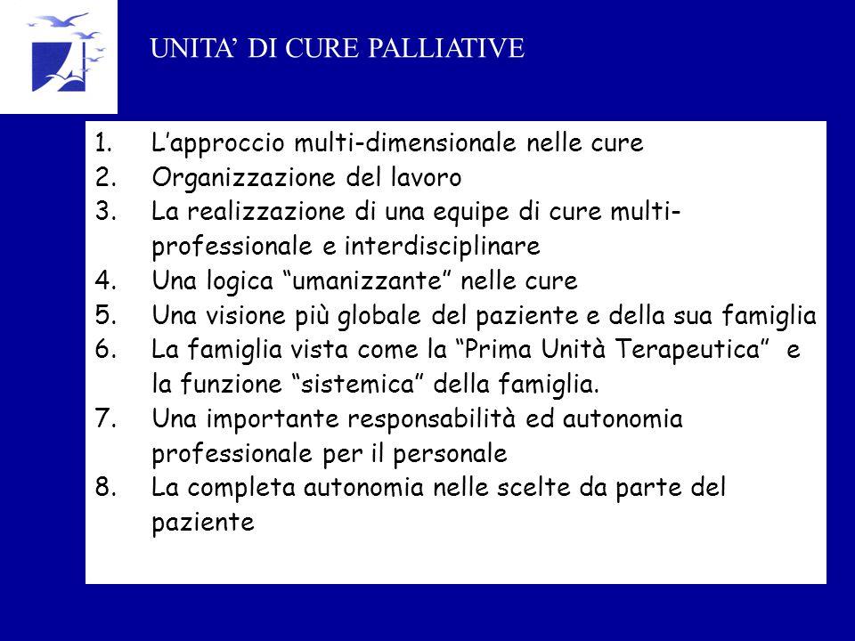 1.L'approccio multi-dimensionale nelle cure 2.Organizzazione del lavoro 3.La realizzazione di una equipe di cure multi- professionale e interdisciplin