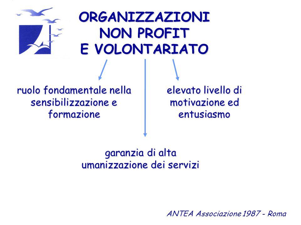 ORGANIZZAZIONI NON PROFIT E VOLONTARIATO ruolo fondamentale nella sensibilizzazione e formazione ANTEA Associazione 1987 - Roma elevato livello di motivazione ed entusiasmo garanzia di alta umanizzazione dei servizi
