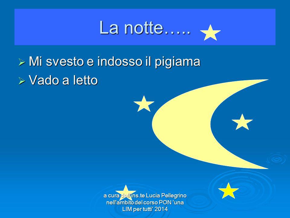 La notte…..  Mi svesto e indosso il pigiama  Vado a letto a cura dell'ins.te Lucia Pellegrino nell'ambito del corso PON 'una LIM per tutti' 2014
