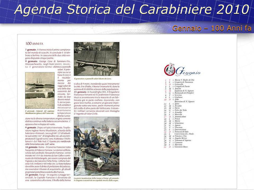Gennaio – 100 Anni fa Agenda Storica del Carabiniere 2010