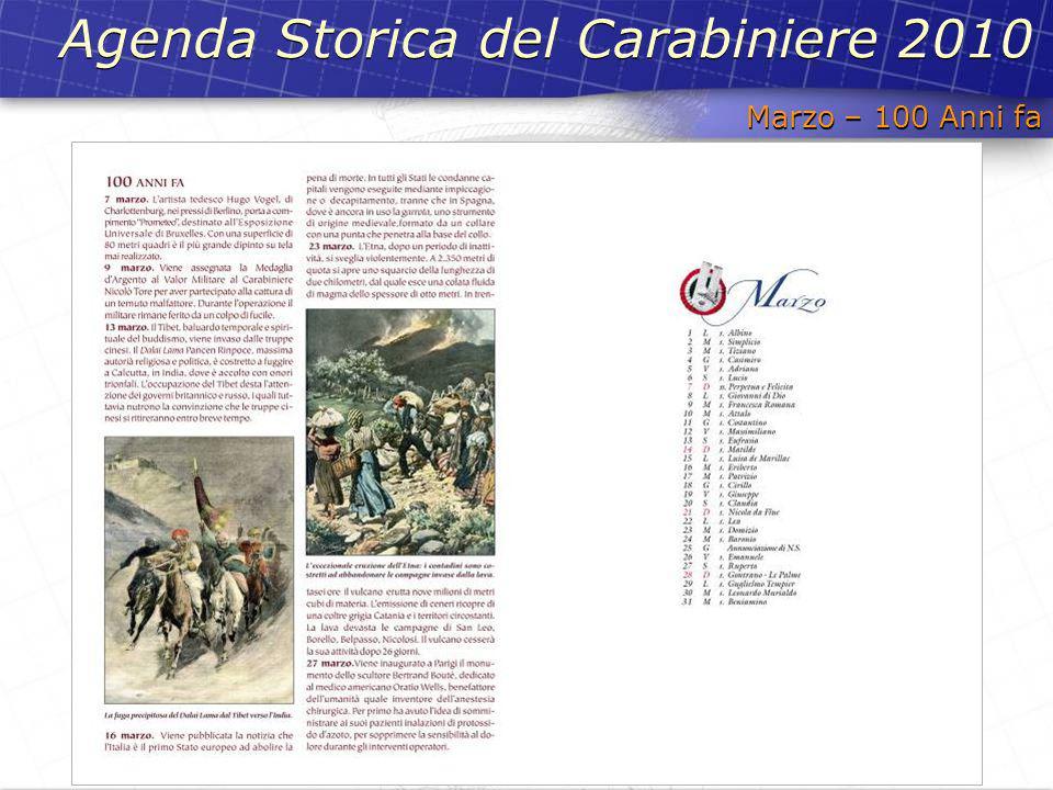Agenda Storica del Carabiniere 2010 Marzo – 100 Anni fa