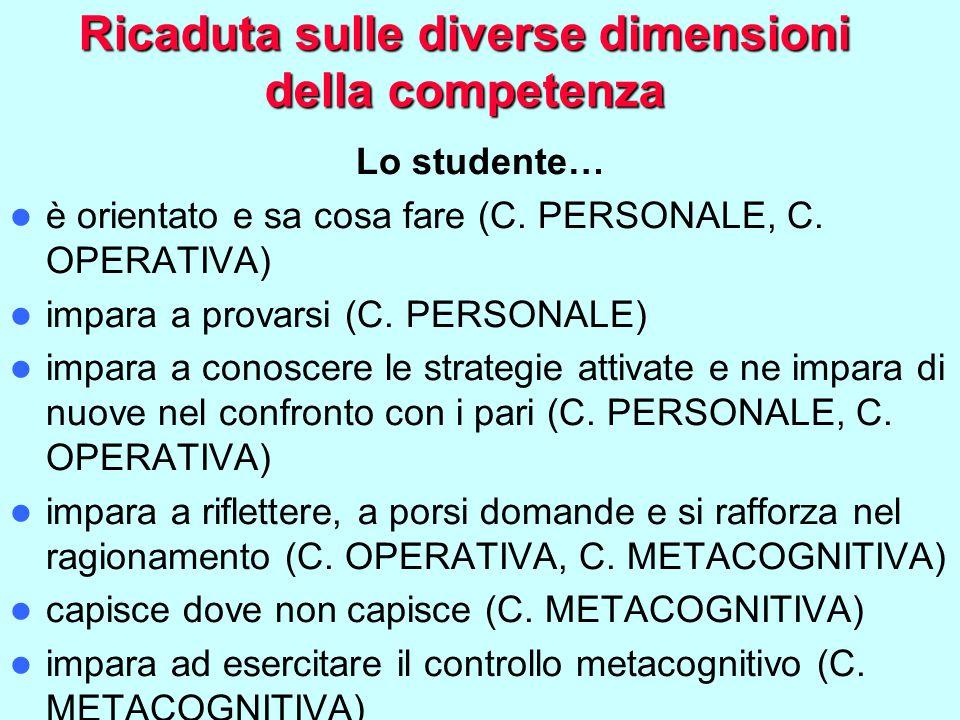 Ricaduta sulle diverse dimensioni della competenza Lo studente… è orientato e sa cosa fare (C.