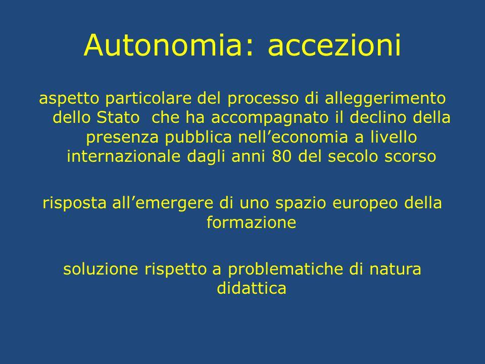 Autonomia: accezioni aspetto particolare del processo di alleggerimento dello Stato che ha accompagnato il declino della presenza pubblica nell'econom