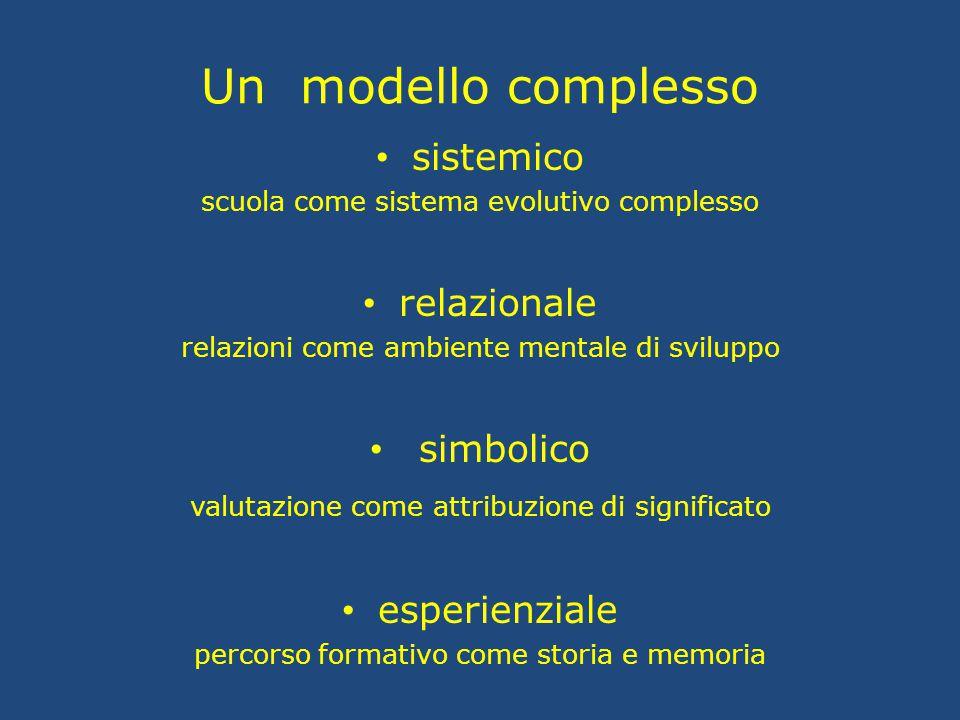 Un modello complesso sistemico scuola come sistema evolutivo complesso relazionale relazioni come ambiente mentale di sviluppo simbolico valutazione c