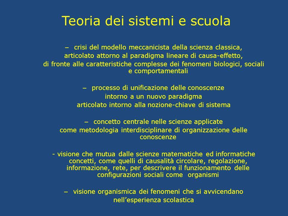 Teoria dei sistemi e scuola – crisi del modello meccanicista della scienza classica, articolato attorno al paradigma lineare di causa-effetto, di fron