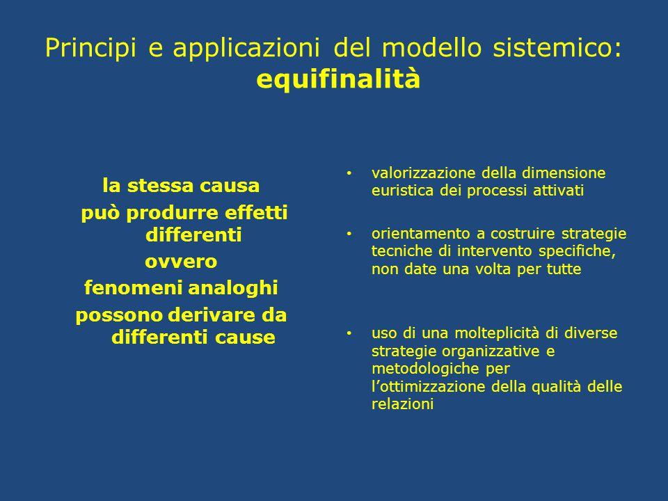 Principi e applicazioni del modello sistemico: equifinalità la stessa causa può produrre effetti differenti ovvero fenomeni analoghi possono derivare