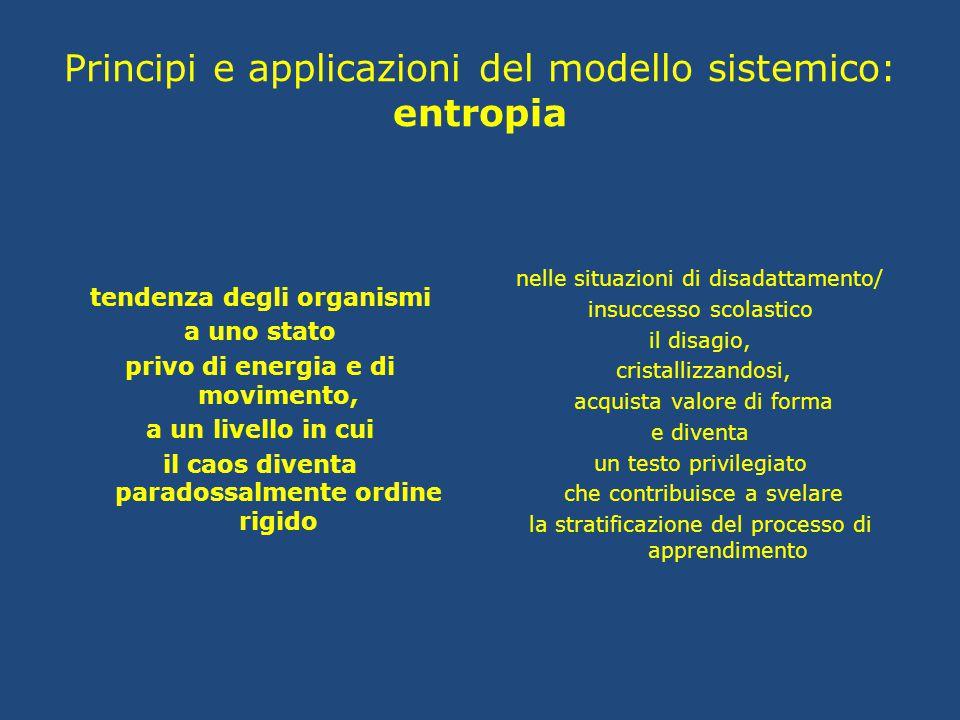 Principi e applicazioni del modello sistemico: entropia tendenza degli organismi a uno stato privo di energia e di movimento, a un livello in cui il c