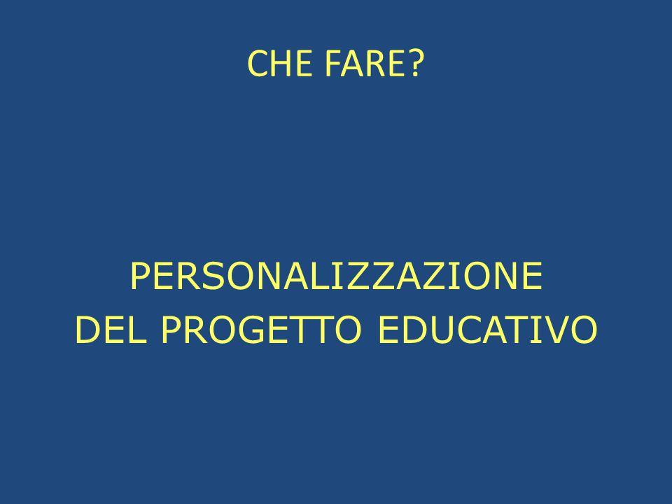 CHE FARE? PERSONALIZZAZIONE DEL PROGETTO EDUCATIVO