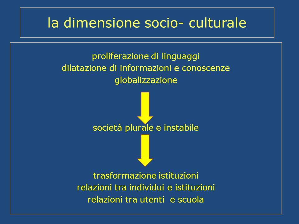 la dimensione socio- culturale proliferazione di linguaggi dilatazione di informazioni e conoscenze globalizzazione società plurale e instabile trasfo