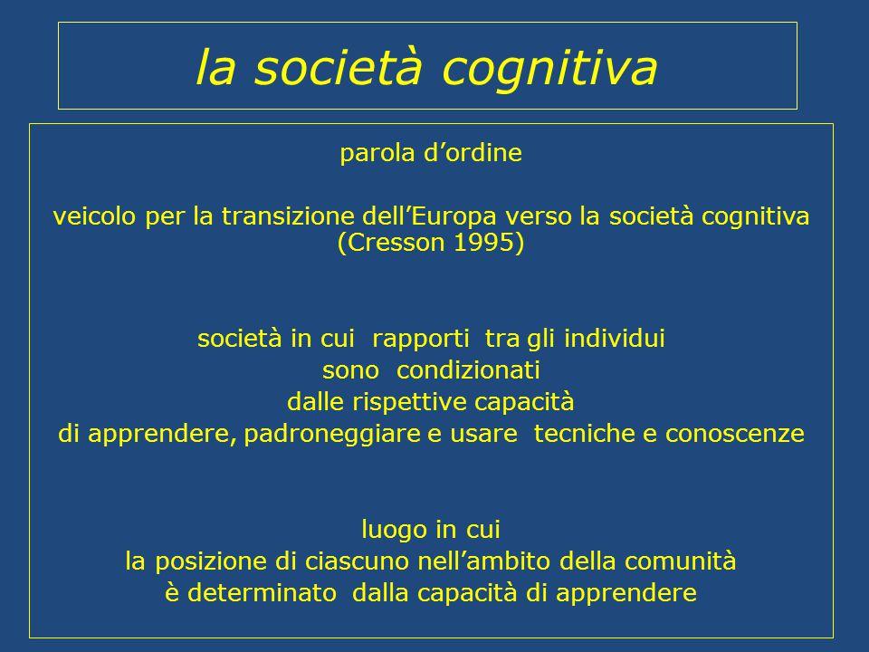 la società cognitiva parola d'ordine veicolo per la transizione dell'Europa verso la società cognitiva (Cresson 1995) società in cui rapporti tra gli