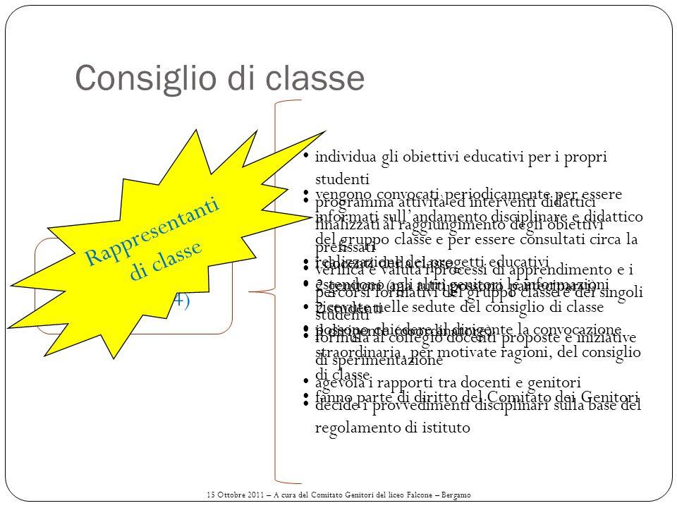 Consiglio di classe (Docenti + 4) individua gli obiettivi educativi per i propri studenti programma attività ed interventi didattici finalizzati al ra
