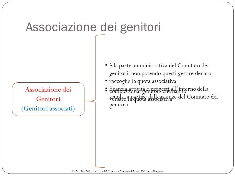 Associazione dei genitori Associazione dei Genitori (Genitori associati) è la parte amministrativa del Comitato dei genitori, non potendo questi gesti