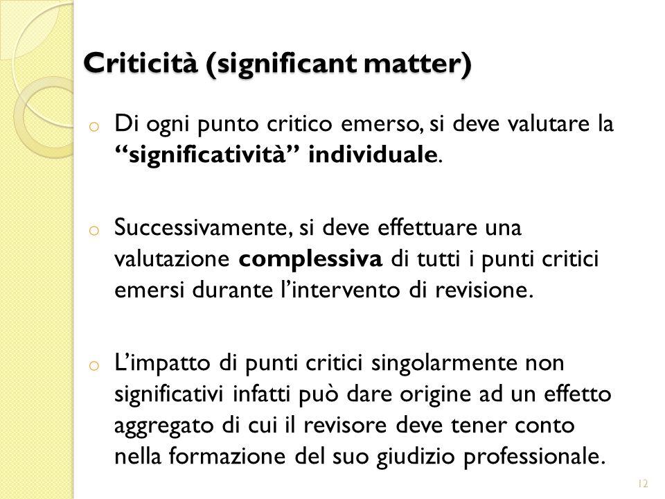 o Di ogni punto critico emerso, si deve valutare la significatività individuale.