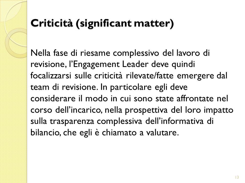 Nella fase di riesame complessivo del lavoro di revisione, l'Engagement Leader deve quindi focalizzarsi sulle criticità rilevate/fatte emergere dal team di revisione.