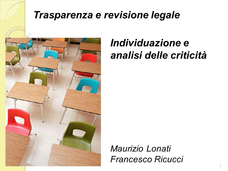 2 Trasparenza e revisione legale Individuazione e analisi delle criticità Maurizio Lonati Francesco Ricucci