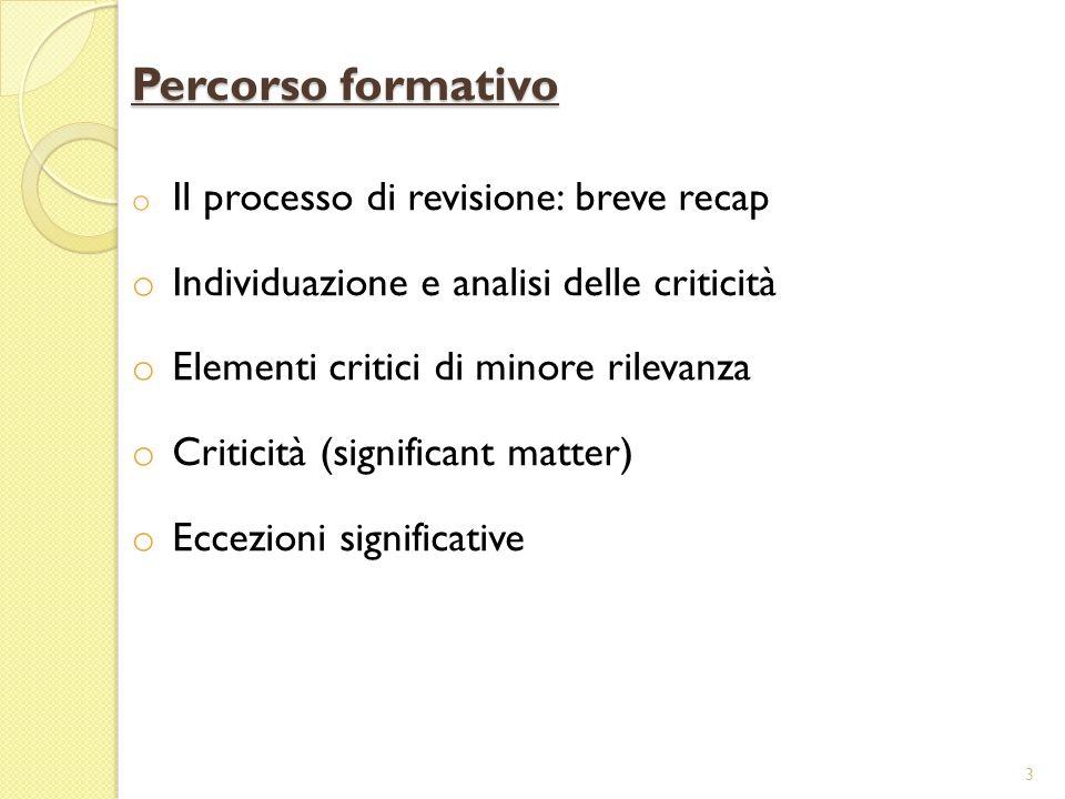 3 o Il processo di revisione: breve recap o Individuazione e analisi delle criticità o Elementi critici di minore rilevanza o Criticità (significant matter) o Eccezioni significative Percorso formativo