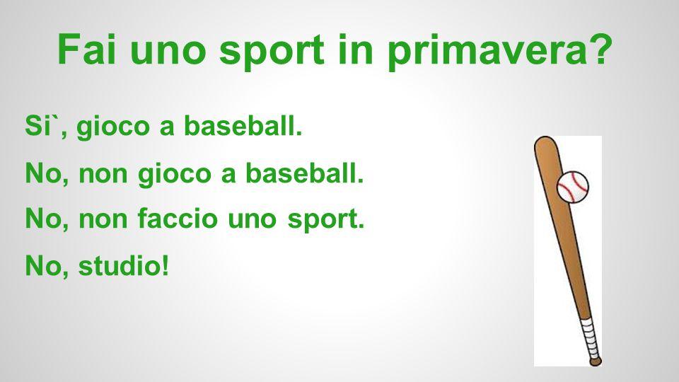 Fai uno sport in primavera? Si`, gioco a baseball. No, non gioco a baseball. No, non faccio uno sport. No, studio!