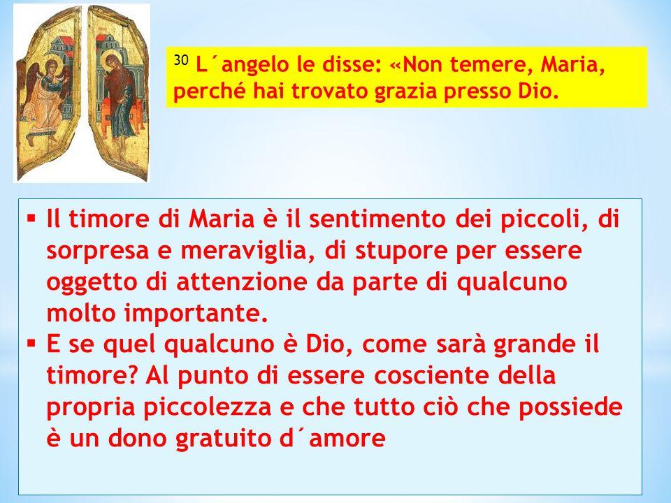 Il timore di Maria è il sentimento dei piccoli, di sorpresa e meraviglia, di stupore per essere oggetto di attenzione da parte di qualcuno molto imp