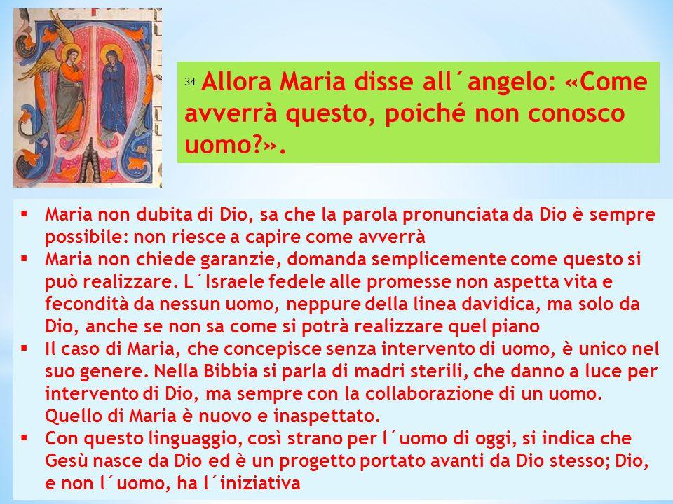  Maria non dubita di Dio, sa che la parola pronunciata da Dio è sempre possibile: non riesce a capire come avverrà  Maria non chiede garanzie, doman