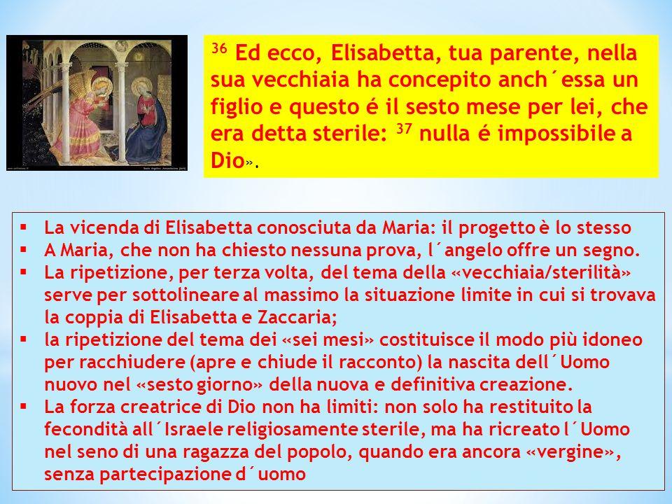  La vicenda di Elisabetta conosciuta da Maria: il progetto è lo stesso  A Maria, che non ha chiesto nessuna prova, l´angelo offre un segno.