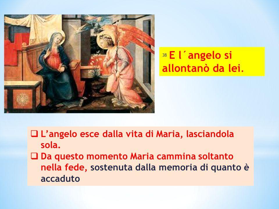  L'angelo esce dalla vita di Maria, lasciandola sola.  Da questo momento Maria cammina soltanto nella fede, sostenuta dalla memoria di quanto è acca