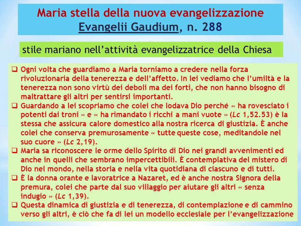 Maria stella della nuova evangelizzazione Evangelii Gaudium, n. 288  Ogni volta che guardiamo a Maria torniamo a credere nella forza rivoluzionaria d