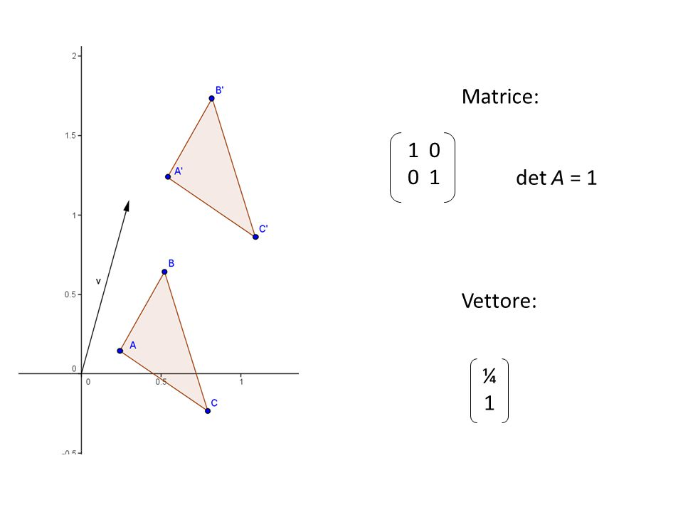 1 0 0 1 Matrice: ¼1¼1 det A = 1 Vettore: