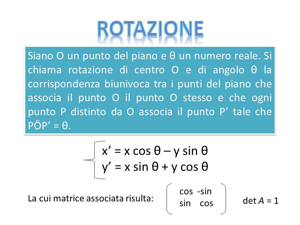 Siano O un punto del piano e θ un numero reale. Si chiama rotazione di centro O e di angolo θ la corrispondenza biunivoca tra i punti del piano che as