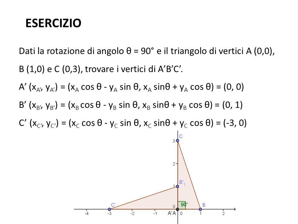 ESERCIZIO Dati la rotazione di angolo θ = 90° e il triangolo di vertici A (0,0), B (1,0) e C (0,3), trovare i vertici di A'B'C'. A' (x A', y A' ) = (x