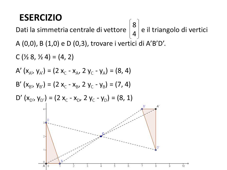 ESERCIZIO Dati la simmetria centrale di vettore e il triangolo di vertici A (0,0), B (1,0) e D (0,3), trovare i vertici di A'B'D'. C (½ 8, ½ 4) = (4,