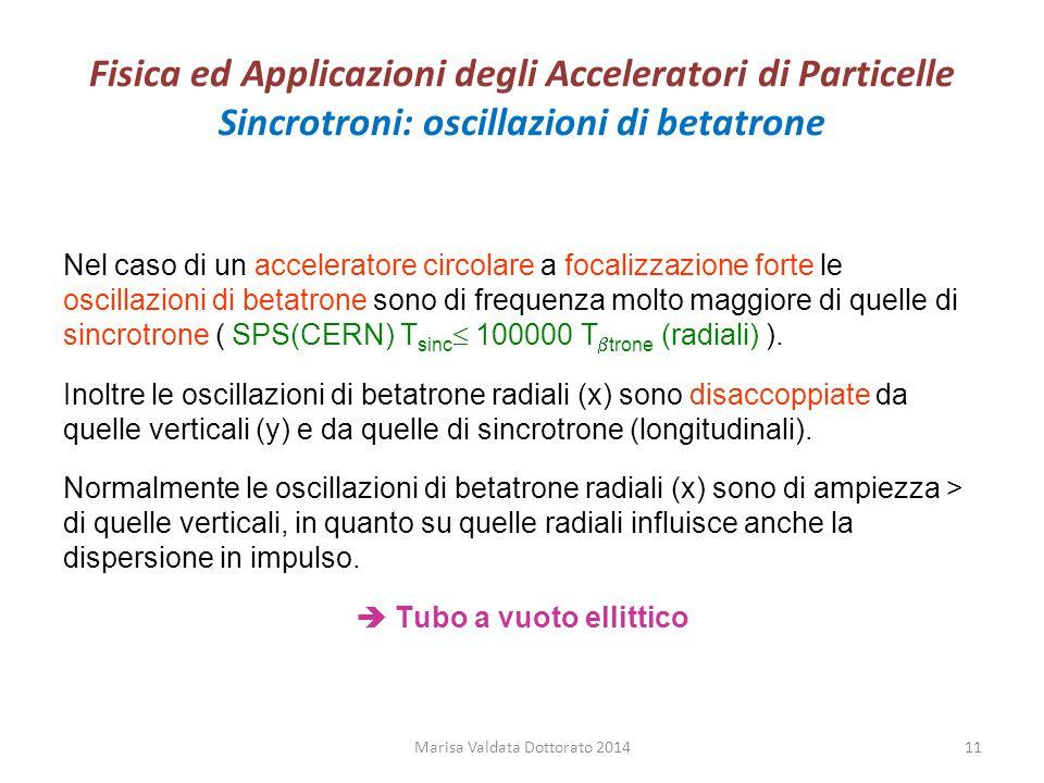Fisica ed Applicazioni degli Acceleratori di Particelle Sincrotroni: oscillazioni di betatrone Nel caso di un acceleratore circolare a focalizzazione