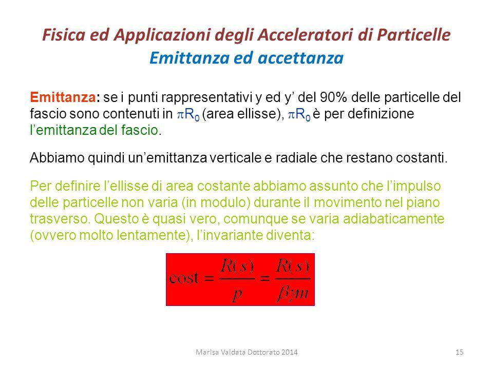 Fisica ed Applicazioni degli Acceleratori di Particelle Emittanza ed accettanza Emittanza: se i punti rappresentativi y ed y' del 90% delle particelle