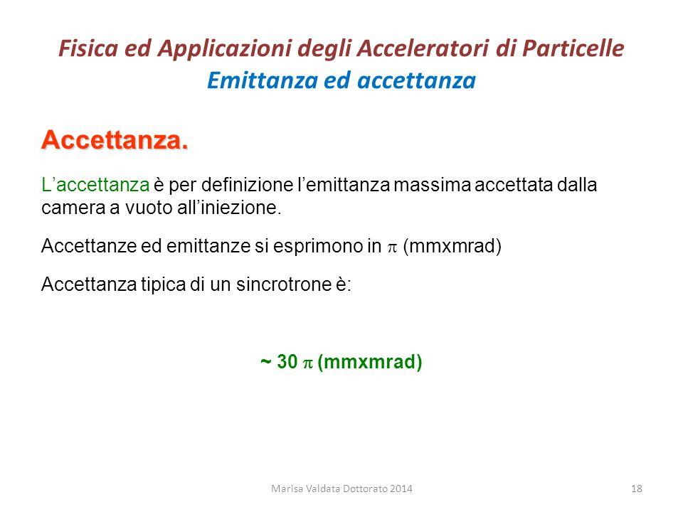 Fisica ed Applicazioni degli Acceleratori di Particelle Emittanza ed accettanza Accettanza. L'accettanza è per definizione l'emittanza massima accetta