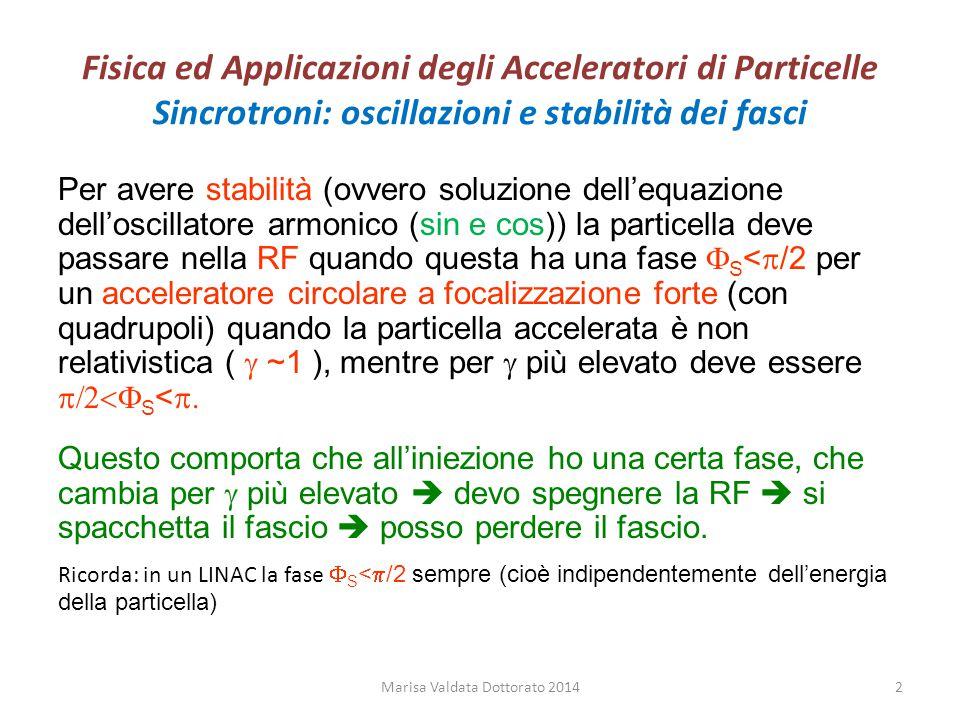 Fisica ed Applicazioni degli Acceleratori di Particelle Sincrotroni: oscillazioni e stabilità dei fasci Per avere stabilità (ovvero soluzione dell'equ