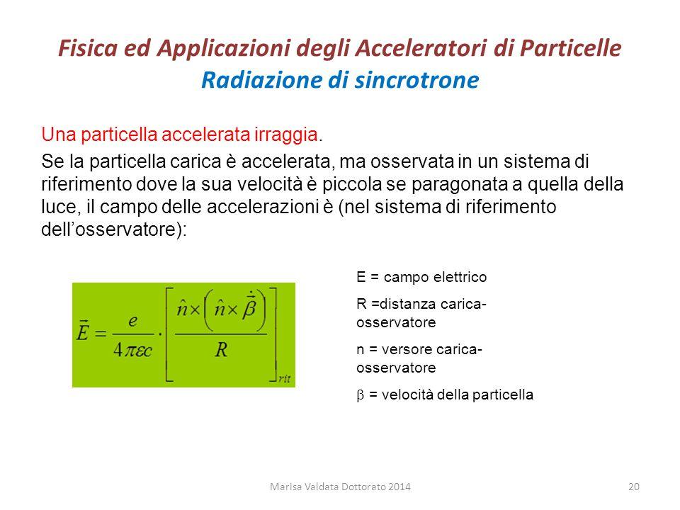 Fisica ed Applicazioni degli Acceleratori di Particelle Radiazione di sincrotrone Una particella accelerata irraggia. Se la particella carica è accele