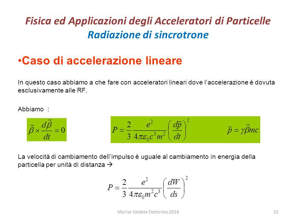 Fisica ed Applicazioni degli Acceleratori di Particelle Radiazione di sincrotrone Caso di accelerazione lineare In questo caso abbiamo a che fare con