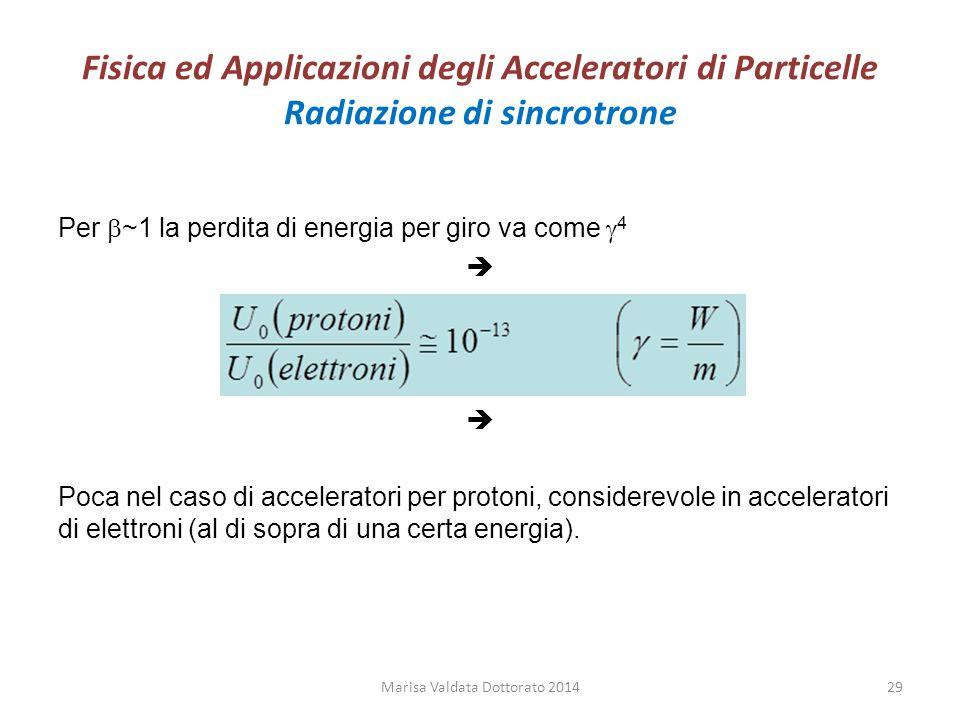 Fisica ed Applicazioni degli Acceleratori di Particelle Radiazione di sincrotrone Per  ~1 la perdita di energia per giro va come  4  Poca nel caso