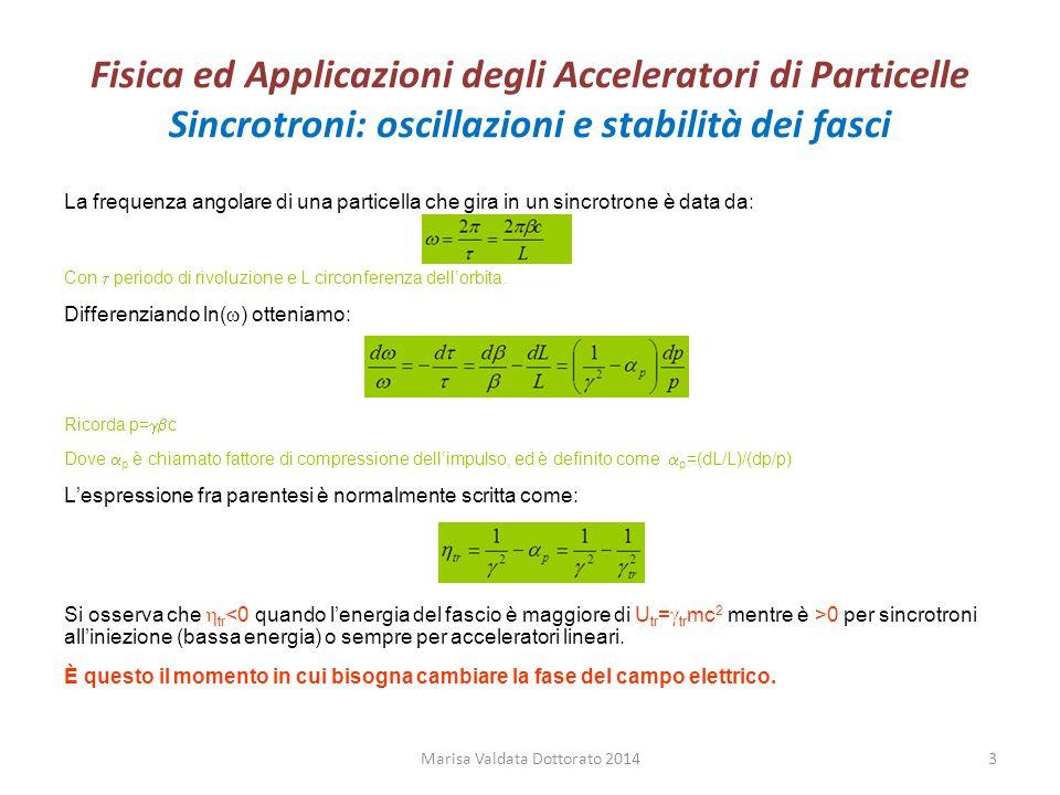Fisica ed Applicazioni degli Acceleratori di Particelle Sincrotroni: oscillazioni di sincrotrone Le quantità fisiche della particella generica sono connesse a quelle della particella sincrona ( indicata con l'indice s) tramite le seguenti relazioni: Energia totale U = U s +  U Impulso p = p s +  p Frequenza angolare  =  s +  Periodo di rivoluzione  =  s +  (  e  hanno segno opposto)  Siccome la particella sincrona deve arrivare alla RF in fase possiamo scrivere:  rf = h  s Con h intero.
