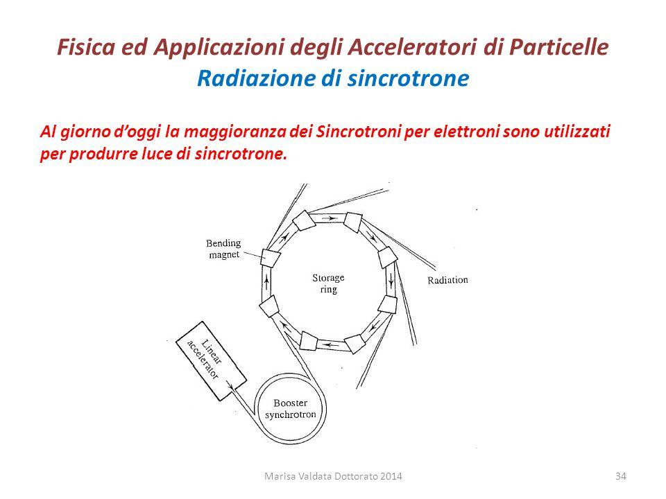 Fisica ed Applicazioni degli Acceleratori di Particelle Radiazione di sincrotrone Al giorno d'oggi la maggioranza dei Sincrotroni per elettroni sono u