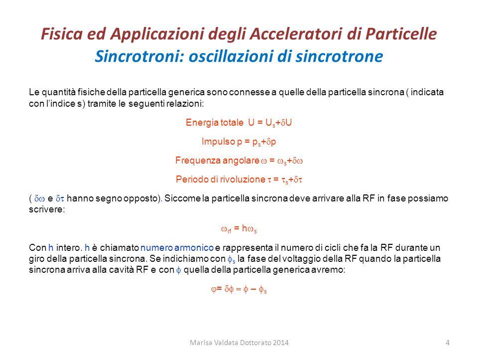 Fisica ed Applicazioni degli Acceleratori di Particelle Sincrotroni: oscillazioni di sincrotrone Il guadagno di energia per giro della particella generica e di quella sincrona sarà (si assume che il voltaggio non cambi quando la particella attraversa la cavità a RF):  U = qV sin   U s = qV sin  s Se all' inizio del giro n la differenza in energia della particella generica rispetto alla particella sincrona è (  U) n =U-U s alla fine del giro n sarà: (  U) n+1 =(U+  U)-(U s +  U s ) Dopo un giro avremo che  U cambia di  (  U)=  U-  U s =qV(sin  -sin  s ) Nell'ipotesi di oscillazioni lente possiamo scrivere: Che diventa definendo W=-  U/  rf =-(U-U s )/  rf Marisa Valdata Dottorato 20145