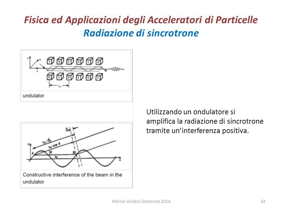 Fisica ed Applicazioni degli Acceleratori di Particelle Radiazione di sincrotrone Utilizzando un ondulatore si amplifica la radiazione di sincrotrone
