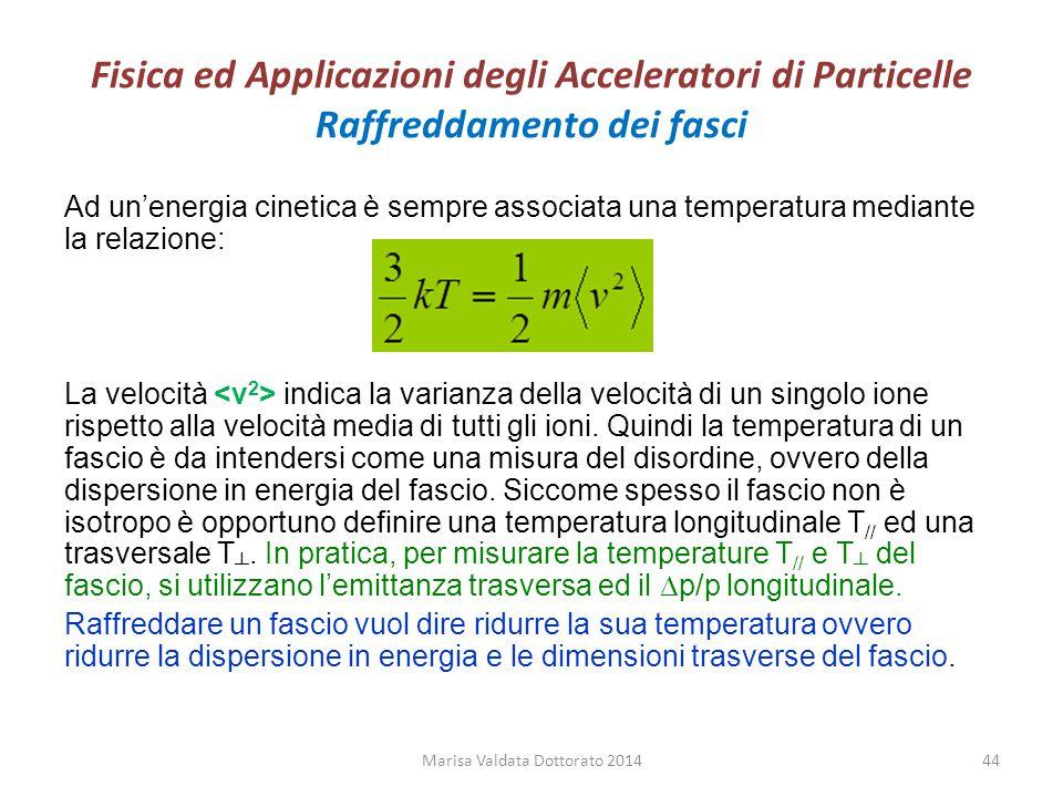 Fisica ed Applicazioni degli Acceleratori di Particelle Raffreddamento dei fasci Ad un'energia cinetica è sempre associata una temperatura mediante la