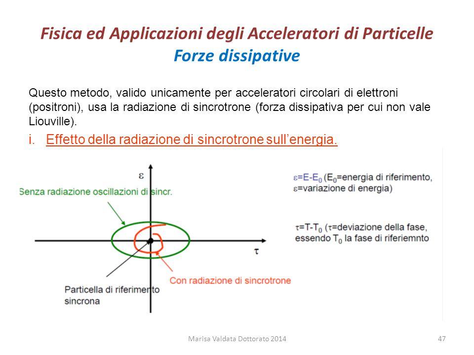 Fisica ed Applicazioni degli Acceleratori di Particelle Forze dissipative Questo metodo, valido unicamente per acceleratori circolari di elettroni (po