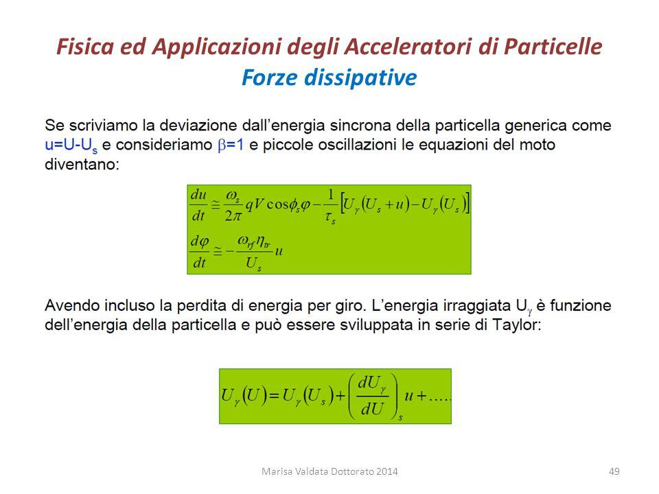 Fisica ed Applicazioni degli Acceleratori di Particelle Forze dissipative Marisa Valdata Dottorato 201449