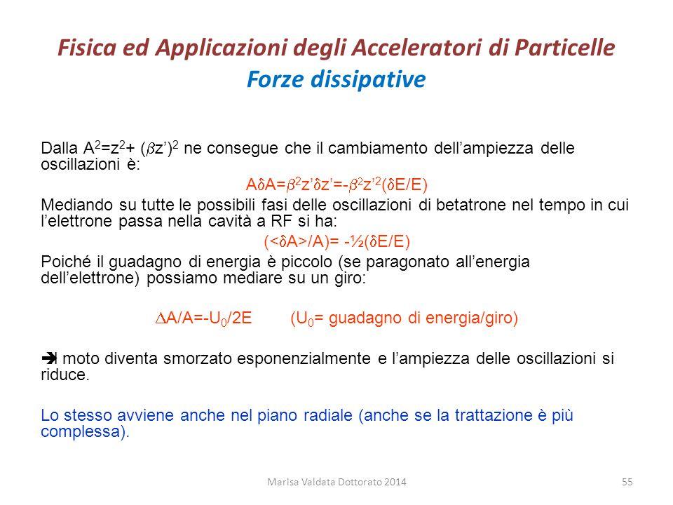 Fisica ed Applicazioni degli Acceleratori di Particelle Forze dissipative Dalla A 2 =z 2 + (  z') 2 ne consegue che il cambiamento dell'ampiezza dell