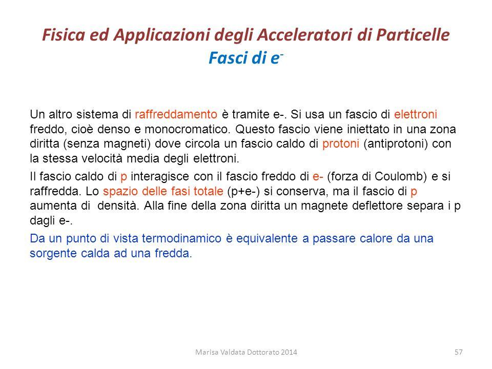 Fisica ed Applicazioni degli Acceleratori di Particelle Fasci di e - Un altro sistema di raffreddamento è tramite e-. Si usa un fascio di elettroni fr