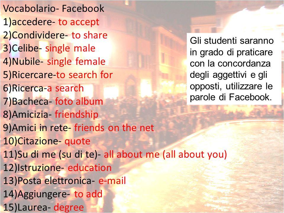 Le presentazioni Gli studenti saranno in grado di mostrare la conoscenza delle parole di Facebook e i verbi tranne un esamino e presentare il progetto di Facebook.